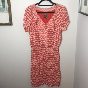 Taylor Red Cream Dragonfly Dress Size 6